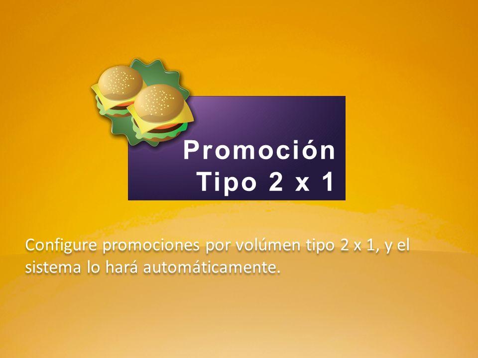 Configure promociones por volúmen tipo 2 x 1, y el sistema lo hará automáticamente. Promoción Tipo 2 x 1