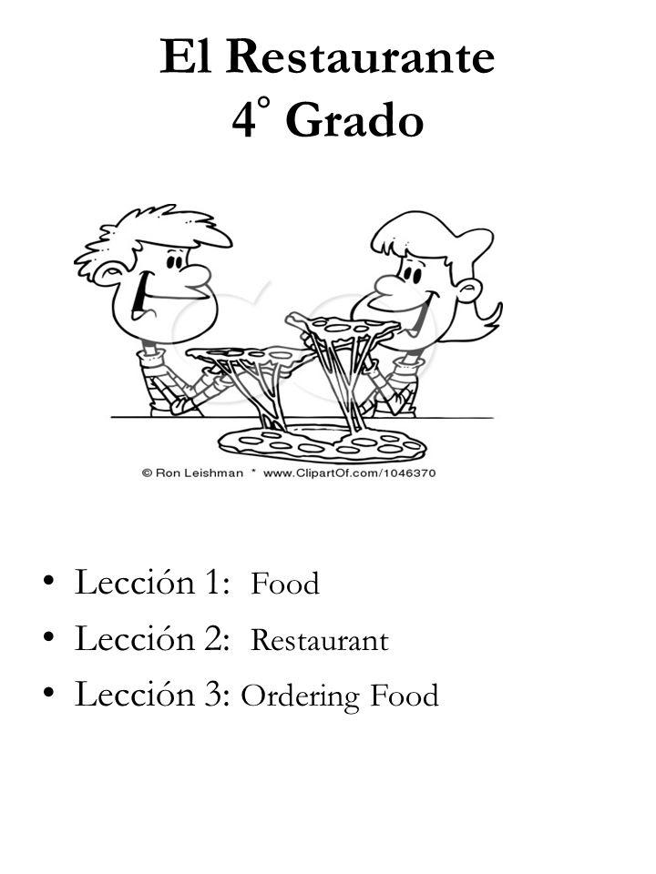 El Restaurante 4 ° Grado Lección 1: Food Lección 2: Restaurant Lección 3: Ordering Food