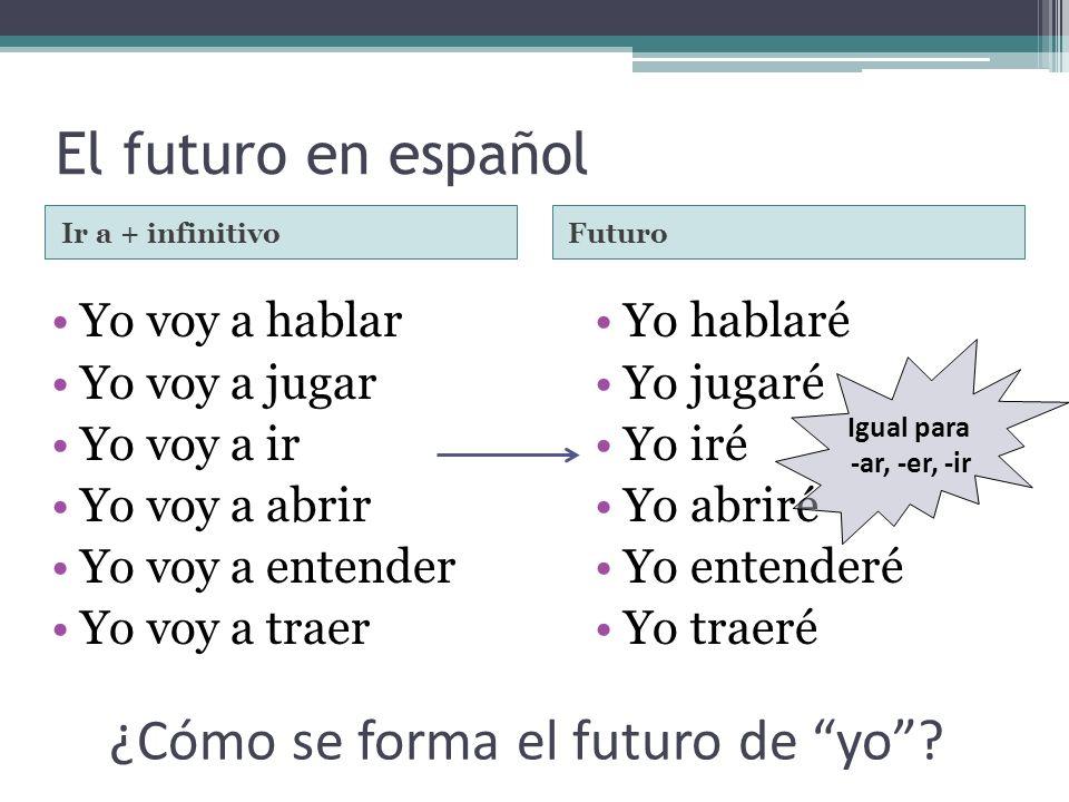 El futuro en español Ir a + infinitivoFuturo Yo voy a hablar Yo voy a jugar Yo voy a ir Yo voy a abrir Yo voy a entender Yo voy a traer Yo hablaré Yo