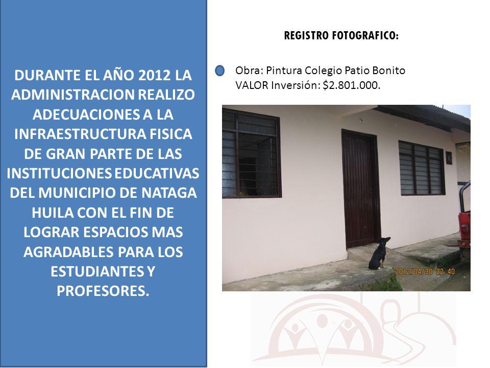 DURANTE EL AÑO 2012 LA ADMINISTRACION REALIZO ADECUACIONES A LA INFRAESTRUCTURA FISICA DE GRAN PARTE DE LAS INSTITUCIONES EDUCATIVAS DEL MUNICIPIO DE