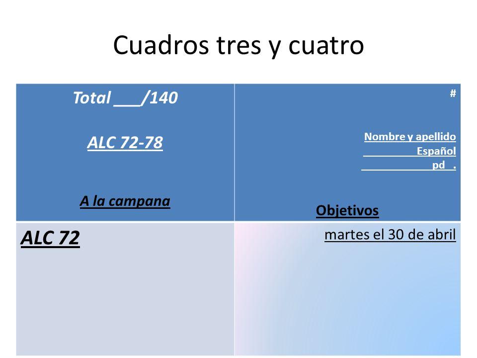 Cuadros tres y cuatro Total ___/140 ALC 72-78 A la campana # Nombre y apellido _________Español pd. Objetivos ALC 72 martes el 30 de abril