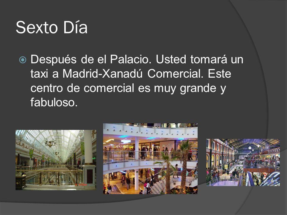 Sexto Día Después de el Palacio. Usted tomará un taxi a Madrid-Xanadú Comercial. Este centro de comercial es muy grande y fabuloso.