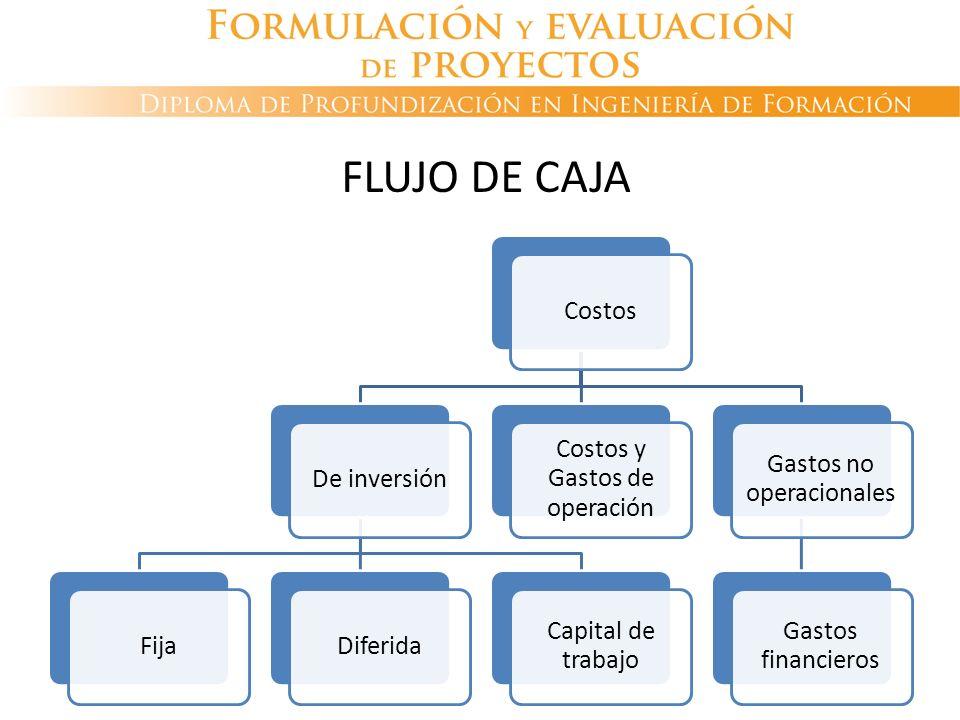 CostosDe inversiónFijaDiferida Capital de trabajo Costos y Gastos de operación Gastos no operacionales Gastos financieros FLUJO DE CAJA