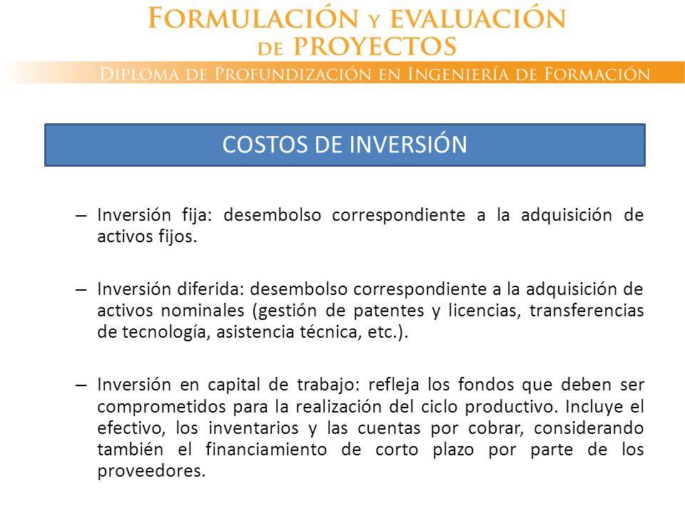– Inversión fija: desembolso correspondiente a la adquisición de activos fijos. – Inversión diferida: desembolso correspondiente a la adquisición de a