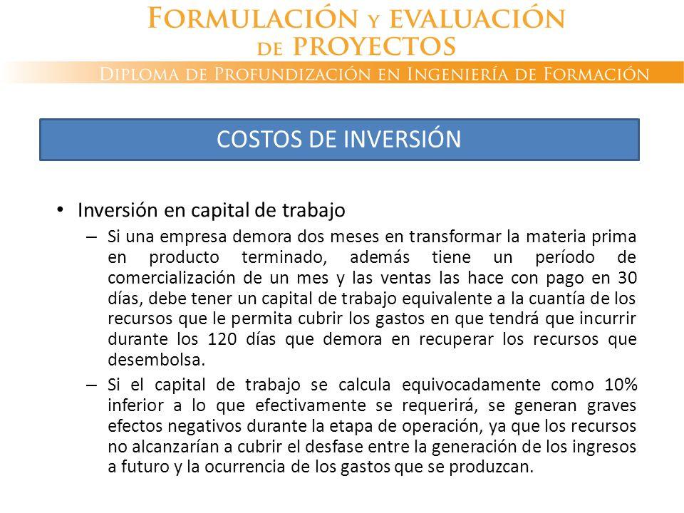 Inversión en capital de trabajo – Si una empresa demora dos meses en transformar la materia prima en producto terminado, además tiene un período de co