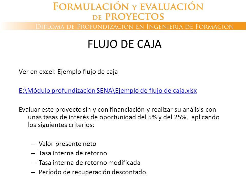 FLUJO DE CAJA Ver en excel: Ejemplo flujo de caja E:\Módulo profundización SENA\Ejemplo de flujo de caja.xlsx Evaluar este proyecto sin y con financia