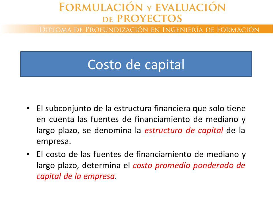 El subconjunto de la estructura financiera que solo tiene en cuenta las fuentes de financiamiento de mediano y largo plazo, se denomina la estructura