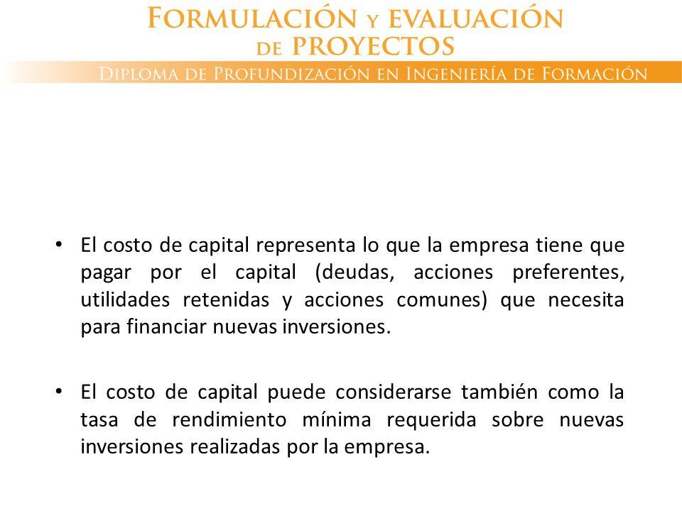 El costo de capital representa lo que la empresa tiene que pagar por el capital (deudas, acciones preferentes, utilidades retenidas y acciones comunes