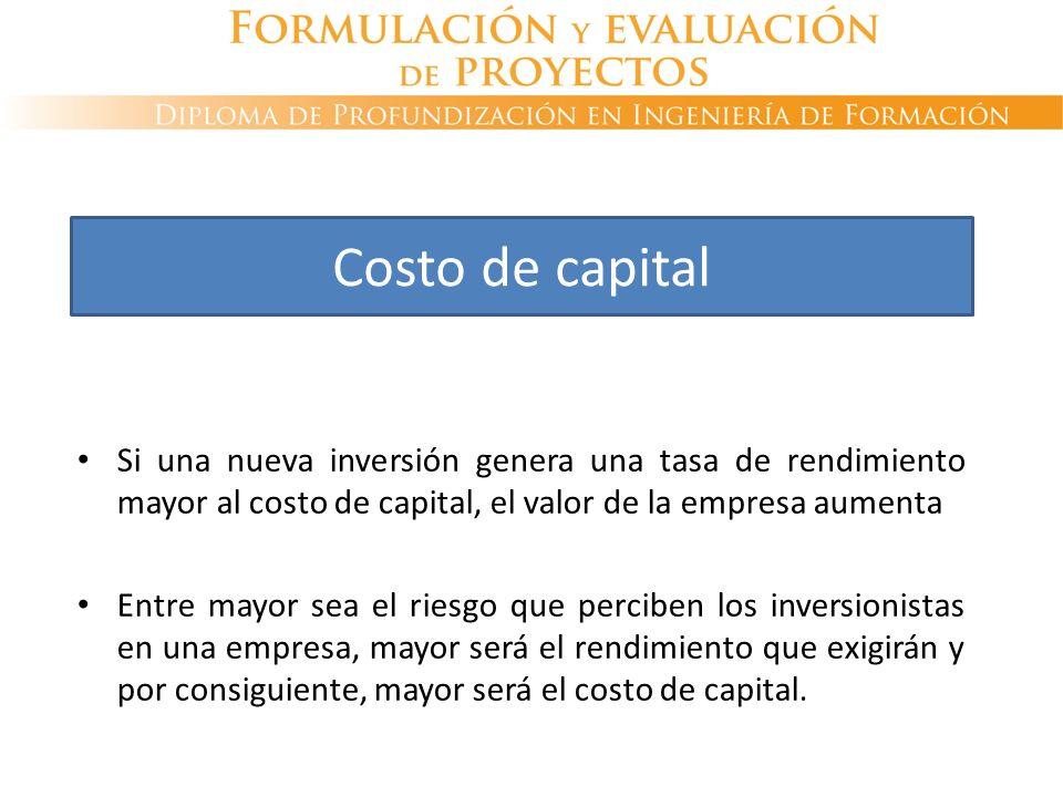 Si una nueva inversión genera una tasa de rendimiento mayor al costo de capital, el valor de la empresa aumenta Entre mayor sea el riesgo que perciben