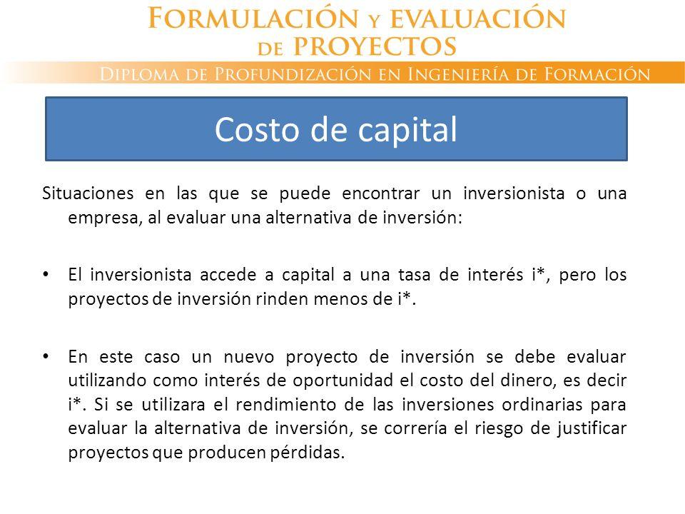 Situaciones en las que se puede encontrar un inversionista o una empresa, al evaluar una alternativa de inversión: El inversionista accede a capital a