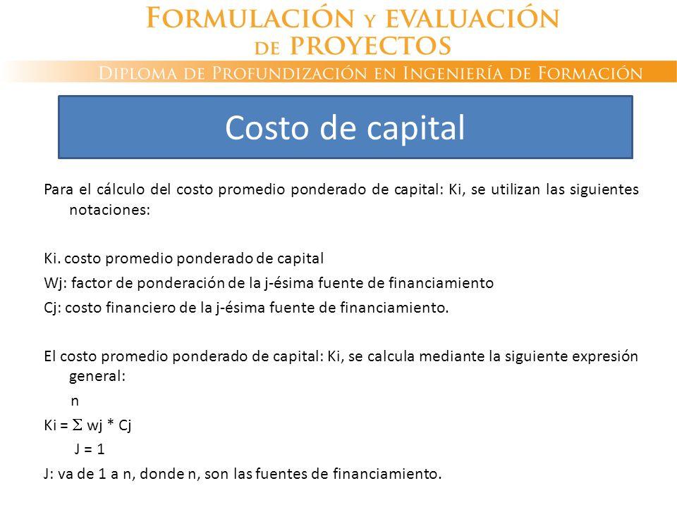 Para el cálculo del costo promedio ponderado de capital: Ki, se utilizan las siguientes notaciones: Ki. costo promedio ponderado de capital Wj: factor