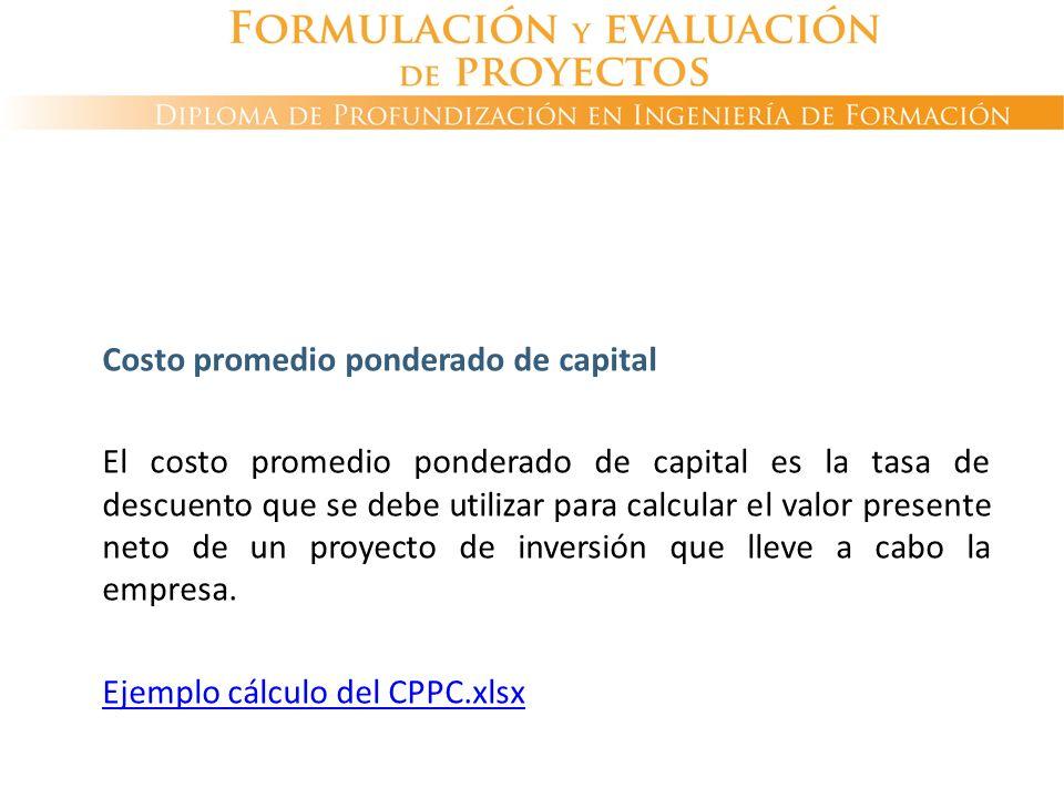Costo promedio ponderado de capital El costo promedio ponderado de capital es la tasa de descuento que se debe utilizar para calcular el valor present