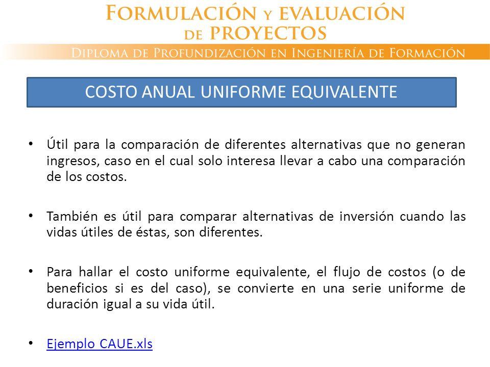 Útil para la comparación de diferentes alternativas que no generan ingresos, caso en el cual solo interesa llevar a cabo una comparación de los costos