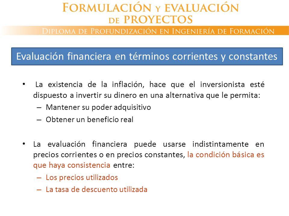 La existencia de la inflación, hace que el inversionista esté dispuesto a invertir su dinero en una alternativa que le permita: – Mantener su poder ad