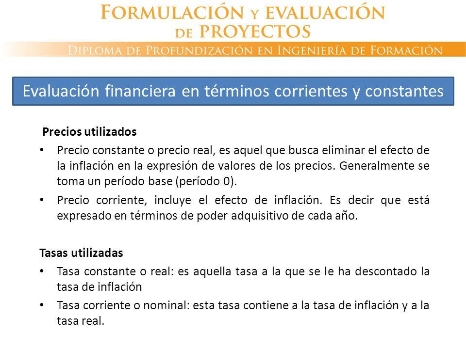 Precios utilizados Precio constante o precio real, es aquel que busca eliminar el efecto de la inflación en la expresión de valores de los precios. Ge