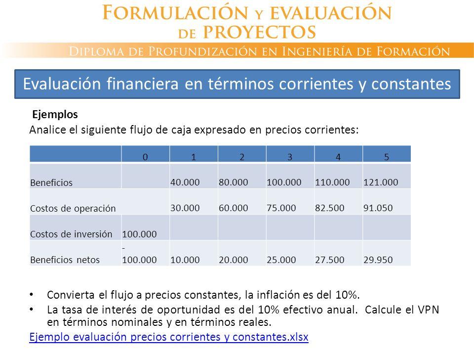 Ejemplos Analice el siguiente flujo de caja expresado en precios corrientes: Convierta el flujo a precios constantes, la inflación es del 10%. La tasa