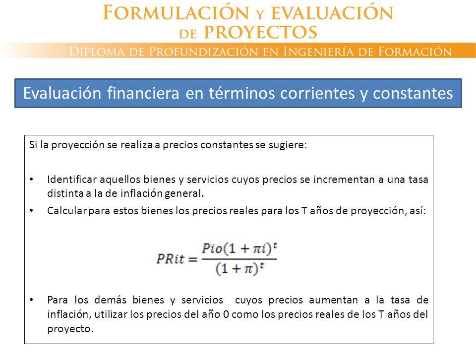 Si la proyección se realiza a precios constantes se sugiere: Identificar aquellos bienes y servicios cuyos precios se incrementan a una tasa distinta