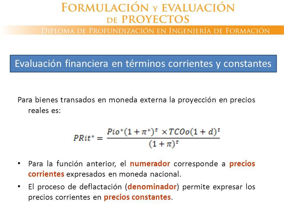 Para bienes transados en moneda externa la proyección en precios reales es: Para la función anterior, el numerador corresponde a precios corrientes ex