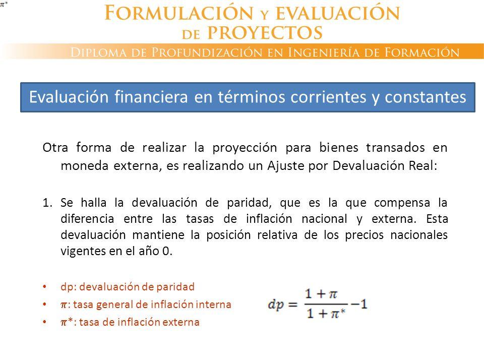 Otra forma de realizar la proyección para bienes transados en moneda externa, es realizando un Ajuste por Devaluación Real: 1. Se halla la devaluación