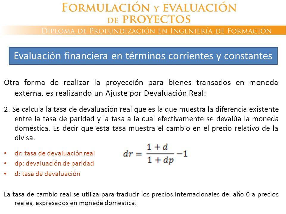 Otra forma de realizar la proyección para bienes transados en moneda externa, es realizando un Ajuste por Devaluación Real: 2. Se calcula la tasa de d