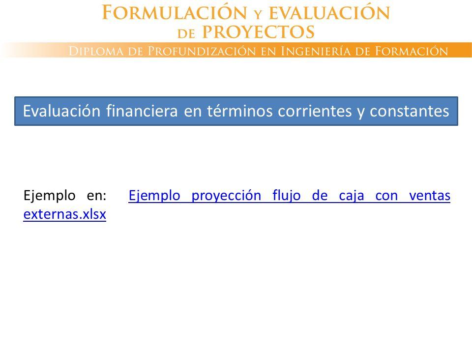 Ejemplo en: Ejemplo proyección flujo de caja con ventas externas.xlsxEjemplo proyección flujo de caja con ventas externas.xlsx Evaluación financiera e