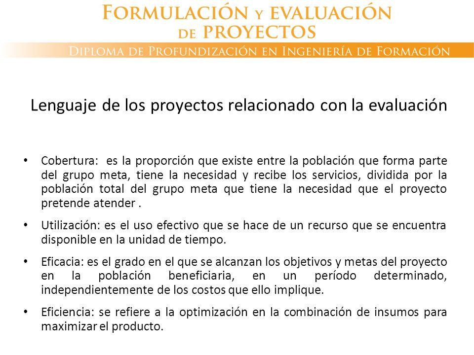 Lenguaje de los proyectos relacionado con la evaluación Cobertura: es la proporción que existe entre la población que forma parte del grupo meta, tien