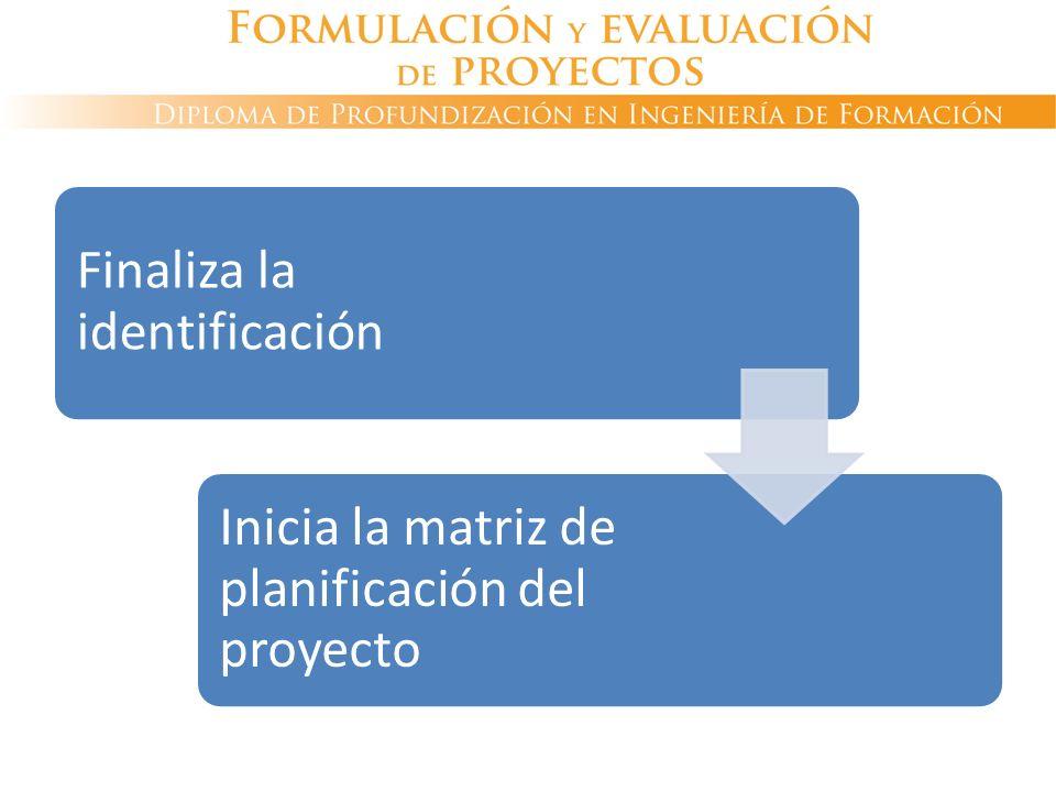 Finaliza la identificación Inicia la matriz de planificación del proyecto
