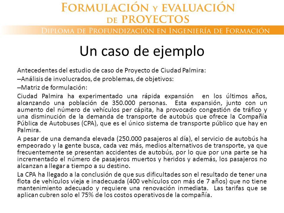 Un caso de ejemplo Antecedentes del estudio de caso de Proyecto de Ciudad Palmira: – Análisis de involucrados, de problemas, de objetivos: – Matriz de