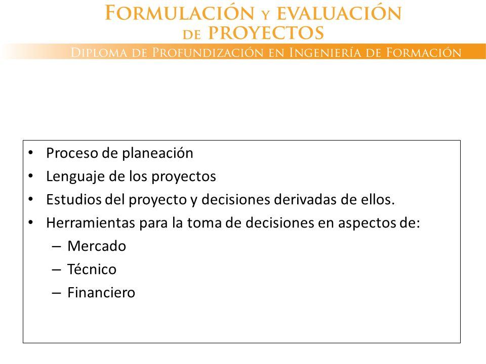 FORMULACIÓN Y EVALUACIÓN DE PROYECTOS Proceso de planeación Lenguaje de los proyectos Estudios del proyecto y decisiones derivadas de ellos. Herramien