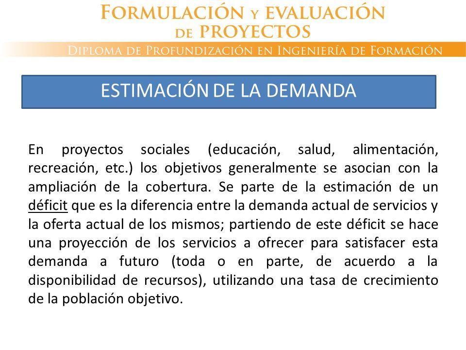 En proyectos sociales (educación, salud, alimentación, recreación, etc.) los objetivos generalmente se asocian con la ampliación de la cobertura. Se p