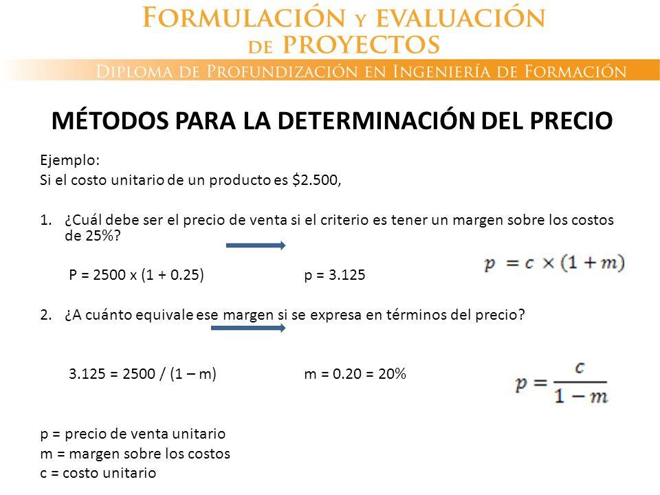 MÉTODOS PARA LA DETERMINACIÓN DEL PRECIO Ejemplo: Si el costo unitario de un producto es $2.500, 1.¿Cuál debe ser el precio de venta si el criterio es