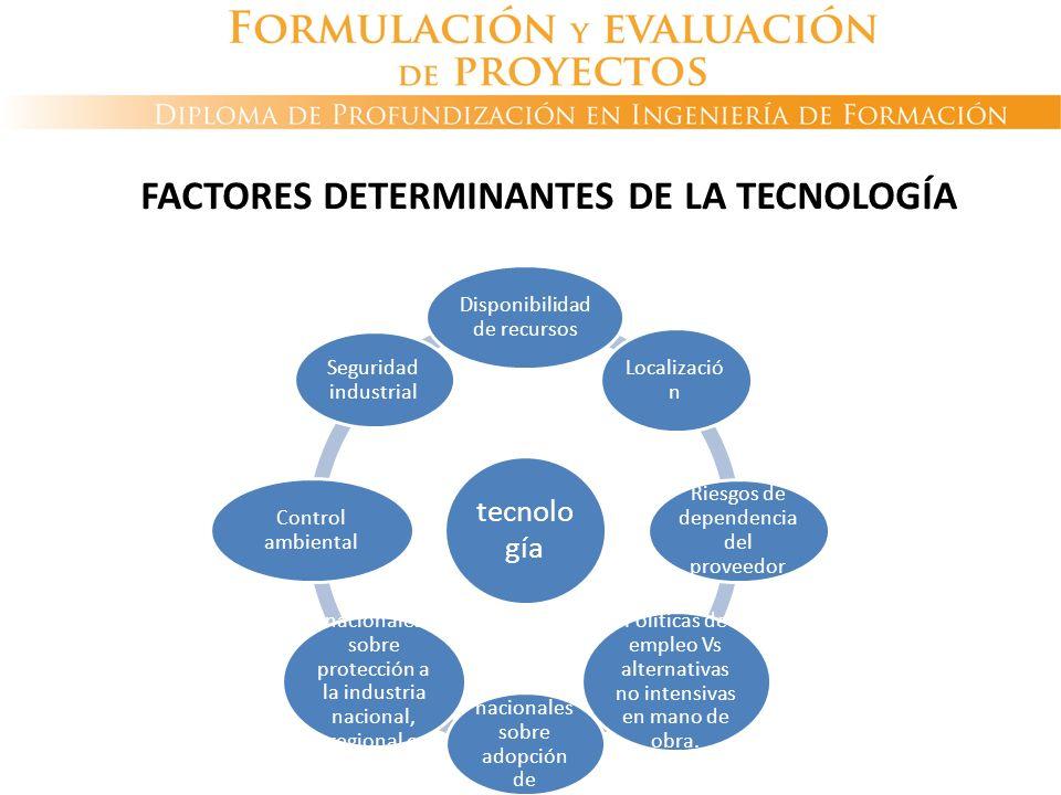 FACTORES DETERMINANTES DE LA TECNOLOGÍA tecnolo gía Disponibilidad de recursos Localizació n Riesgos de dependencia del proveedor Políticas de empleo