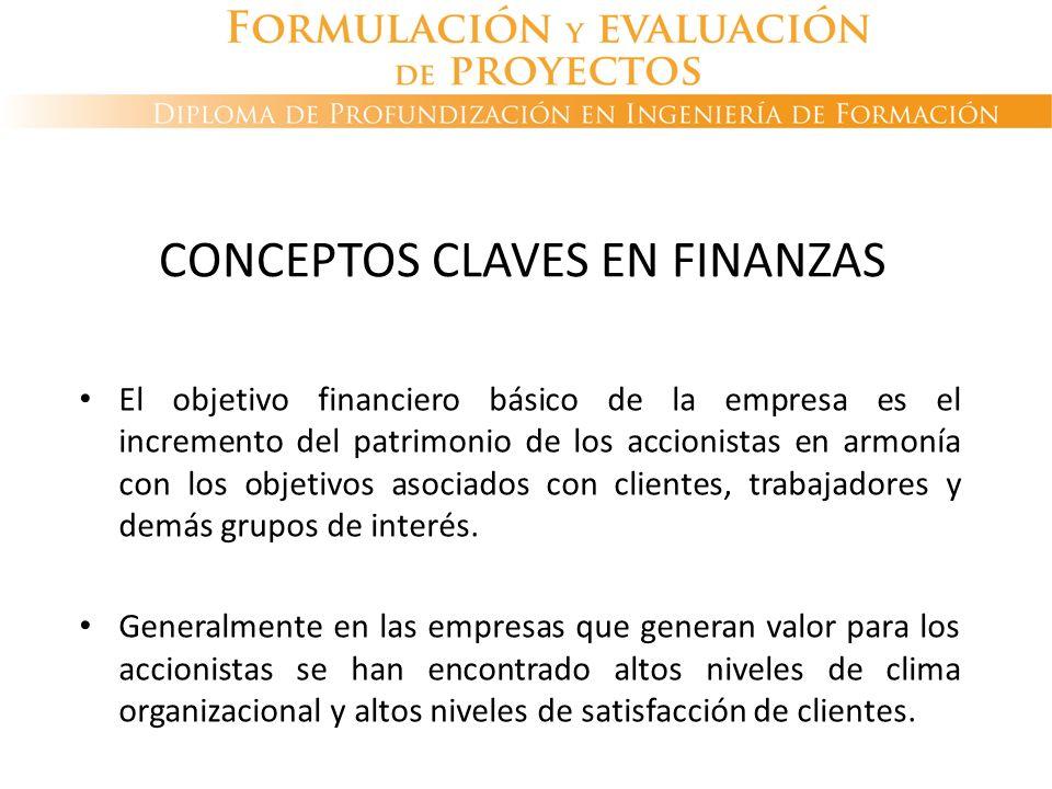 CONCEPTOS CLAVES EN FINANZAS El objetivo financiero básico de la empresa es el incremento del patrimonio de los accionistas en armonía con los objetiv