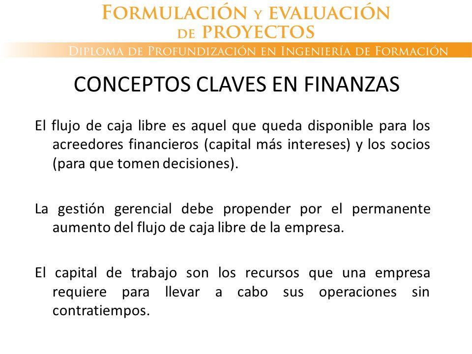 CONCEPTOS CLAVES EN FINANZAS El flujo de caja libre es aquel que queda disponible para los acreedores financieros (capital más intereses) y los socios