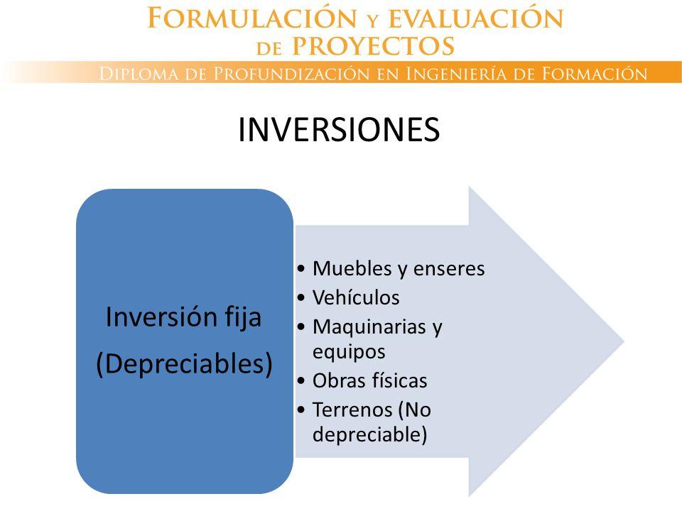 Muebles y enseres Vehículos Maquinarias y equipos Obras físicas Terrenos (No depreciable) Inversión fija (Depreciables) INVERSIONES