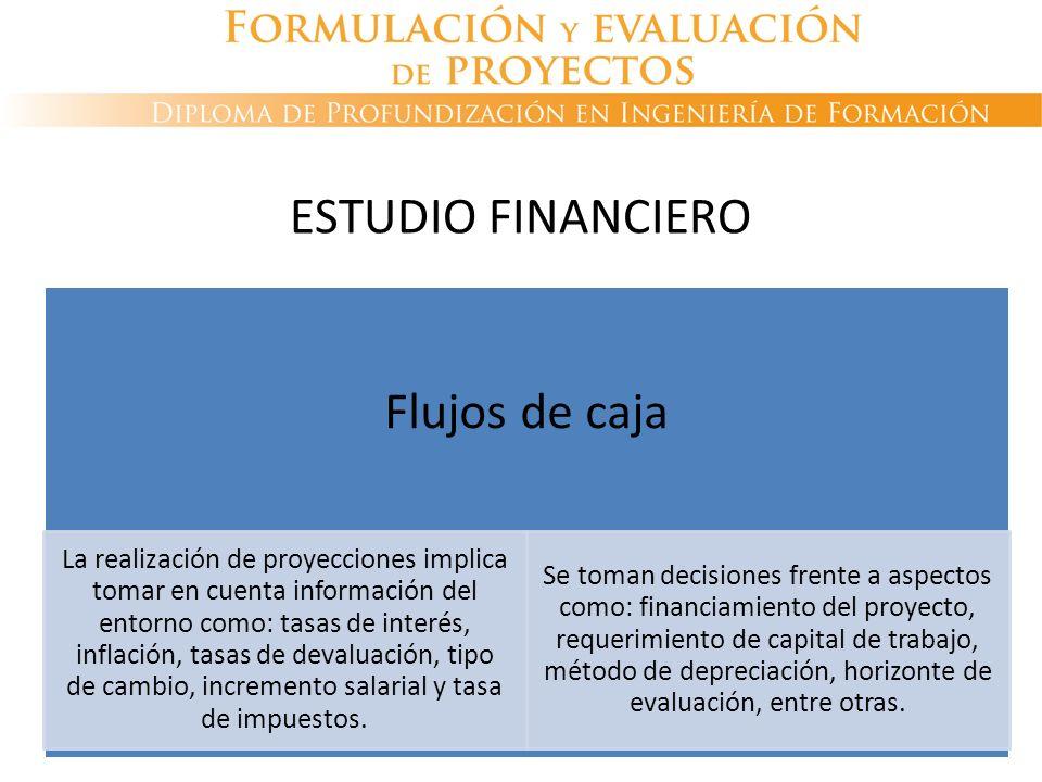 Flujos de caja La realización de proyecciones implica tomar en cuenta información del entorno como: tasas de interés, inflación, tasas de devaluación,