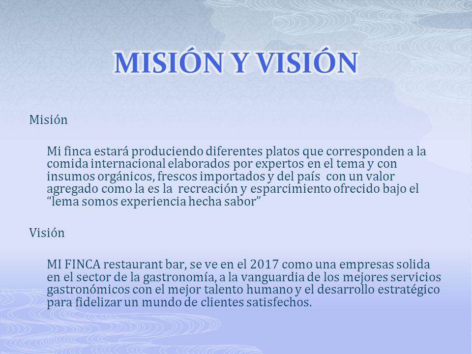 Misión Mi finca estará produciendo diferentes platos que corresponden a la comida internacional elaborados por expertos en el tema y con insumos orgán