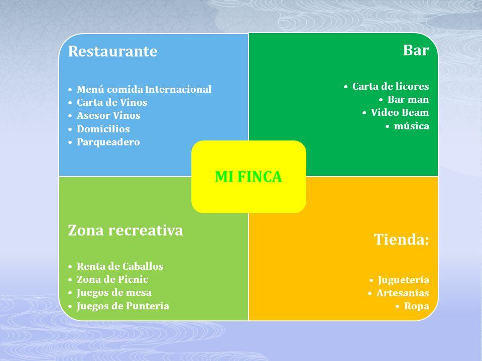 Restaurante Menú comida Internacional Carta de Vinos Asesor Vinos Domicilios Parqueadero Bar Carta de licores Bar man Video Beam música Zona recreativ