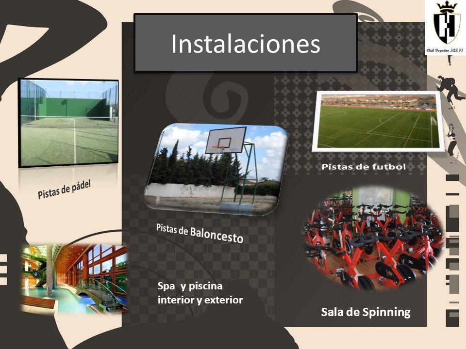 Instalaciones Sala de Spinning Spa y piscina interior y exterior
