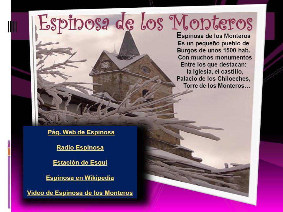 E spinosa de los Monteros Es un pequeño pueblo de Burgos de unos 1500 hab.