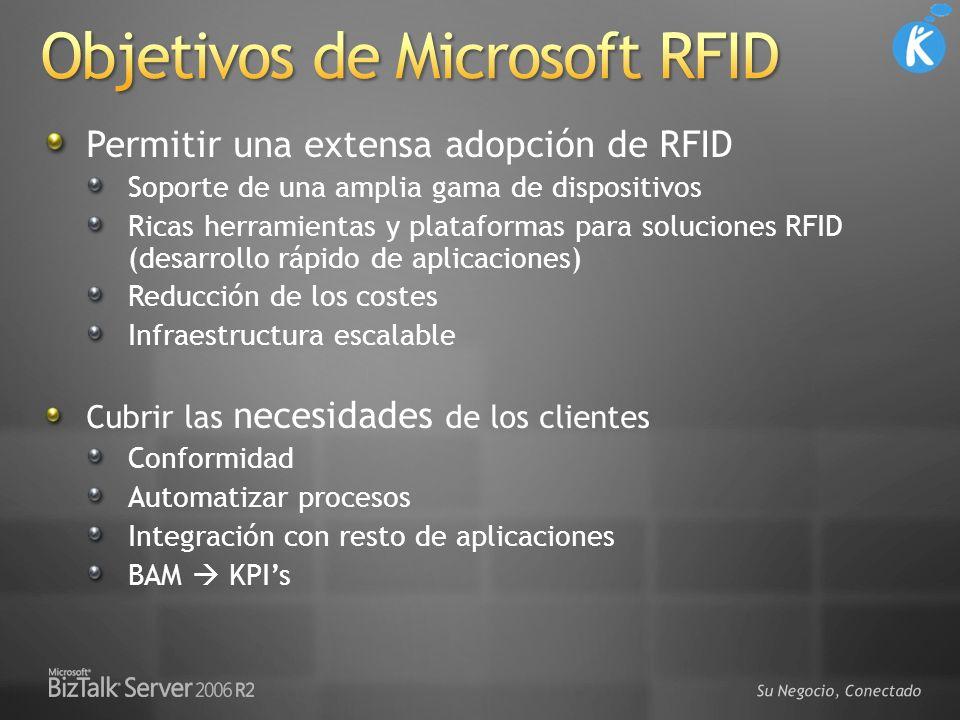 Permitir una extensa adopción de RFID Soporte de una amplia gama de dispositivos Ricas herramientas y plataformas para soluciones RFID (desarrollo ráp