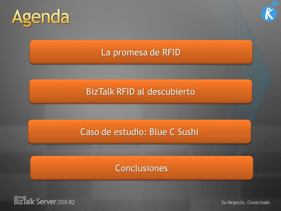 La industria de la tecnología RFID está llegando a su madurez BizTalk RFID esta destinado directamente a escenarios empresariales (Mission Critical RFID) Abstracción uniforme de los dispositivos + importante impulso IHV Gestión de los dispositivos de clase empresarial Servicios de procesamiento de eventos sobre tecnologías existentes de servidores BizTalk RFID + Partners = Adopción masiva