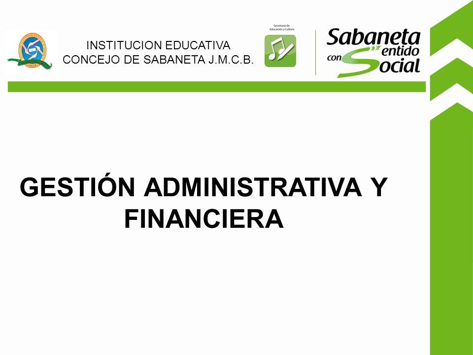 GESTIÓN ADMINISTRATIVA Y FINANCIERA INSTITUCION EDUCATIVA CONCEJO DE SABANETA J.M.C.B.
