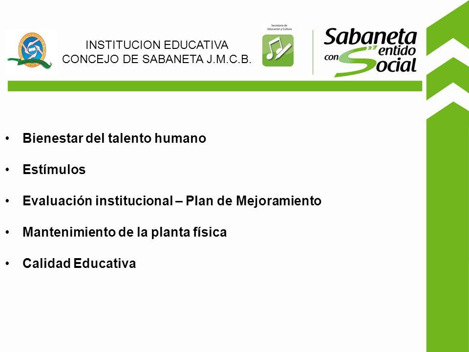 Bienestar del talento humano Estímulos Evaluación institucional – Plan de Mejoramiento Mantenimiento de la planta física Calidad Educativa INSTITUCION EDUCATIVA CONCEJO DE SABANETA J.M.C.B.