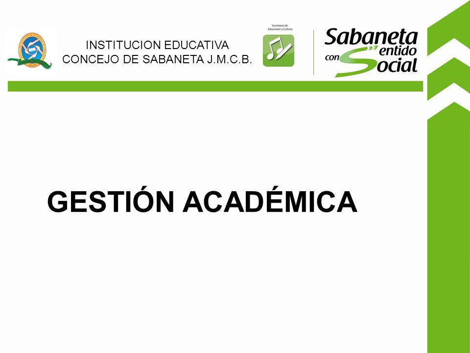GESTIÓN ACADÉMICA INSTITUCION EDUCATIVA CONCEJO DE SABANETA J.M.C.B.