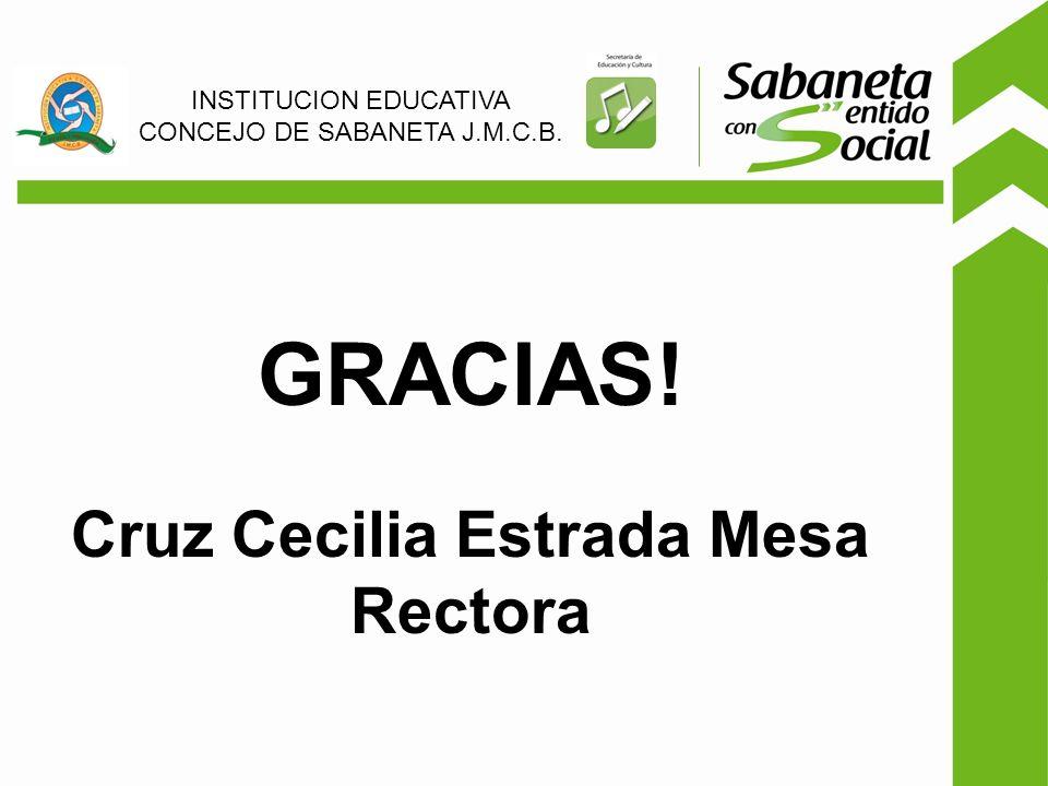 GRACIAS! Cruz Cecilia Estrada Mesa Rectora INSTITUCION EDUCATIVA CONCEJO DE SABANETA J.M.C.B.