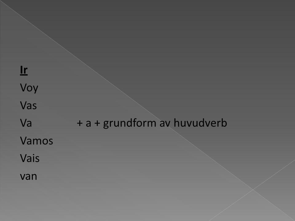 Ir Voy Vas Va+ a + grundform av huvudverb Vamos Vais van