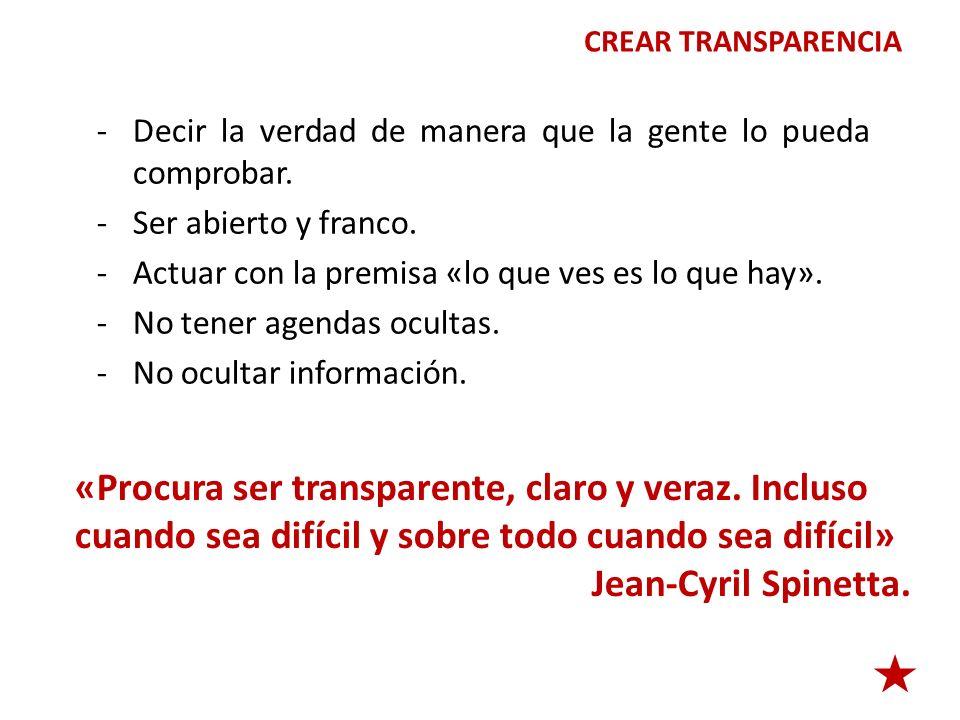 CREAR TRANSPARENCIA -Decir la verdad de manera que la gente lo pueda comprobar. -Ser abierto y franco. -Actuar con la premisa «lo que ves es lo que ha