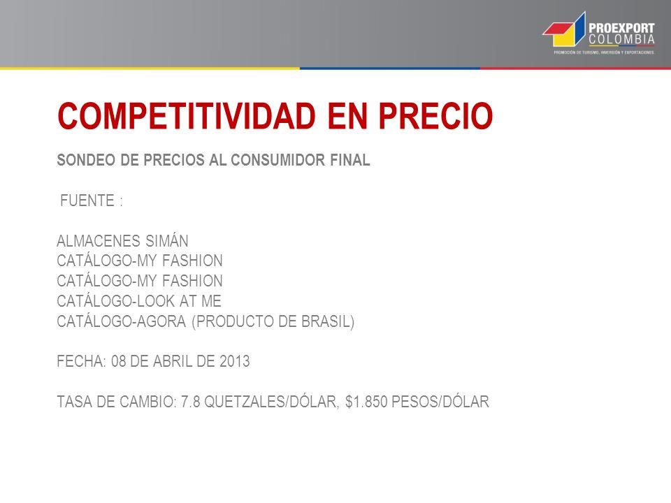 SONDEO DE PRECIOS AL CONSUMIDOR FINAL FUENTE : ALMACENES SIMÁN CATÁLOGO-MY FASHION CATÁLOGO-MY FASHION CATÁLOGO-LOOK AT ME CATÁLOGO-AGORA (PRODUCTO DE
