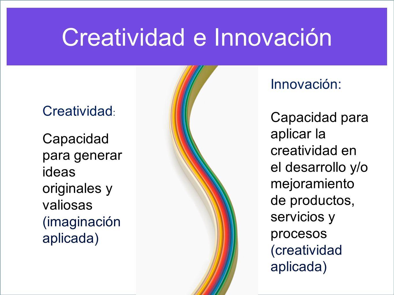 Creatividad : Capacidad para generar ideas originales y valiosas (imaginación aplicada) Innovación: Capacidad para aplicar la creatividad en el desarr